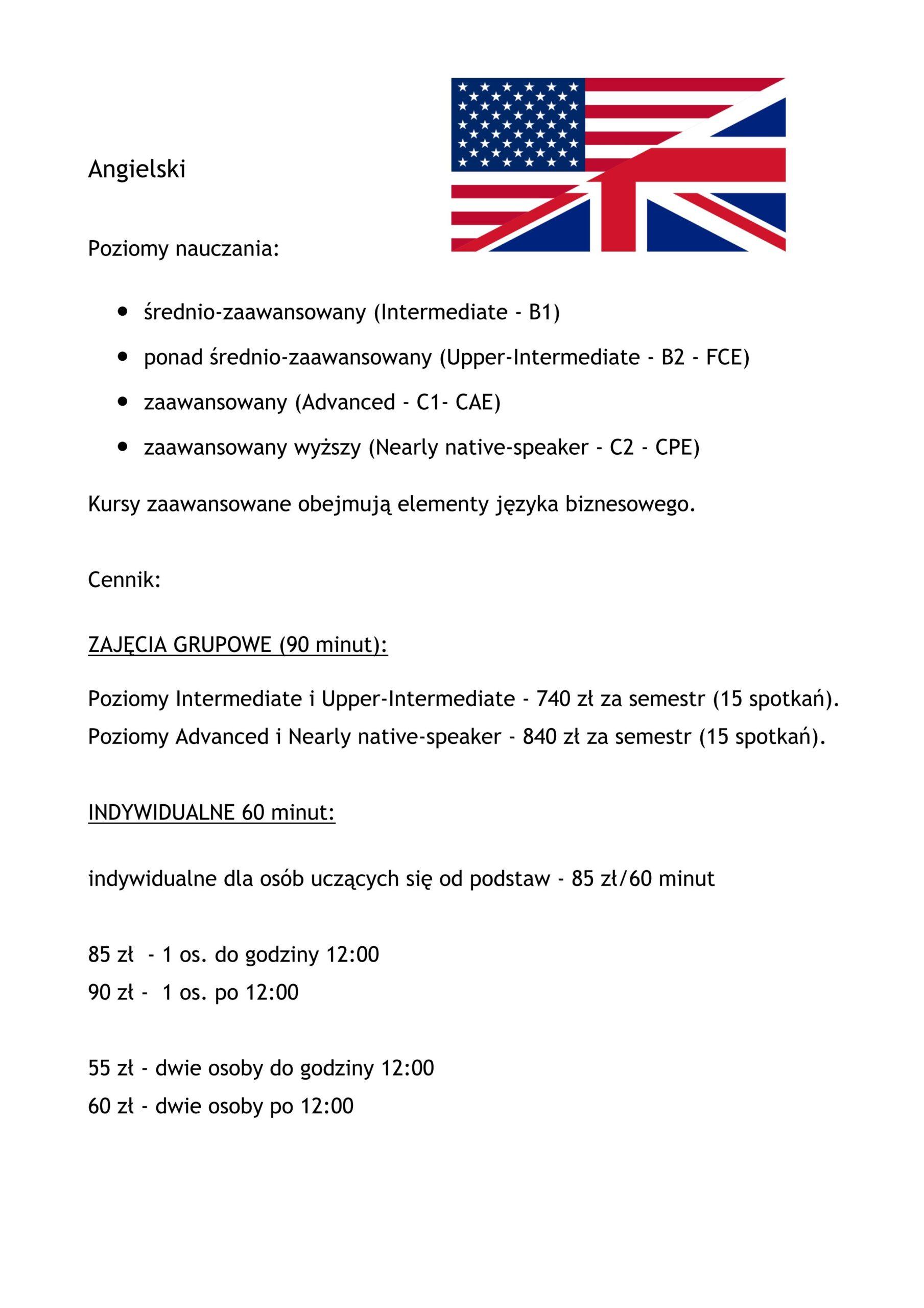 Cennik angielskiego