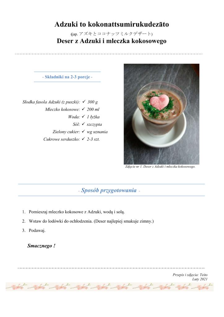 Przepis na deser z Adzuki i mleczka kokosowego