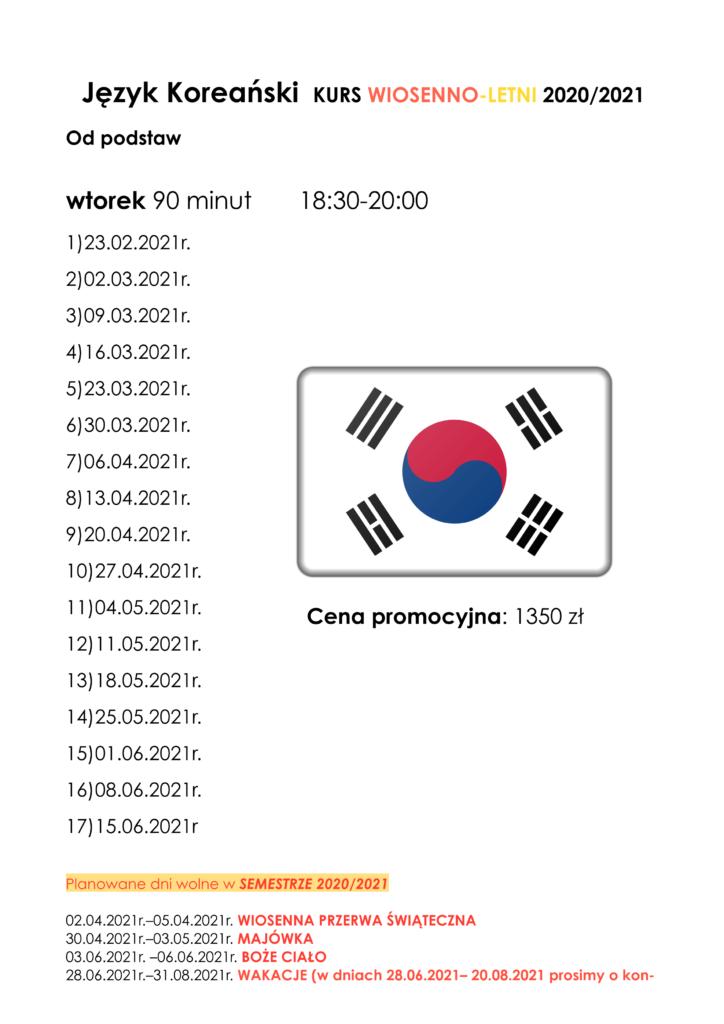 plan zajęc koreańskiego od podstaw na wtorek