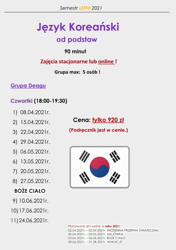 harmonogram koreańskiego od podstaw