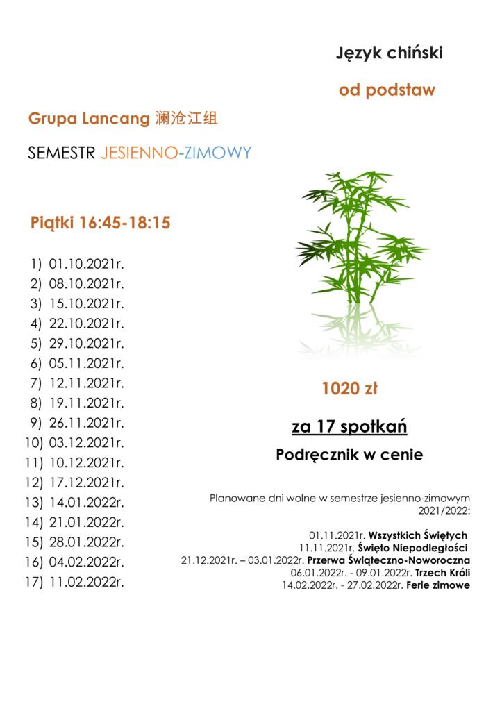harmonogram kursu języka chińskiego od podstaw. semestr jesien - zima. grupa Langcang