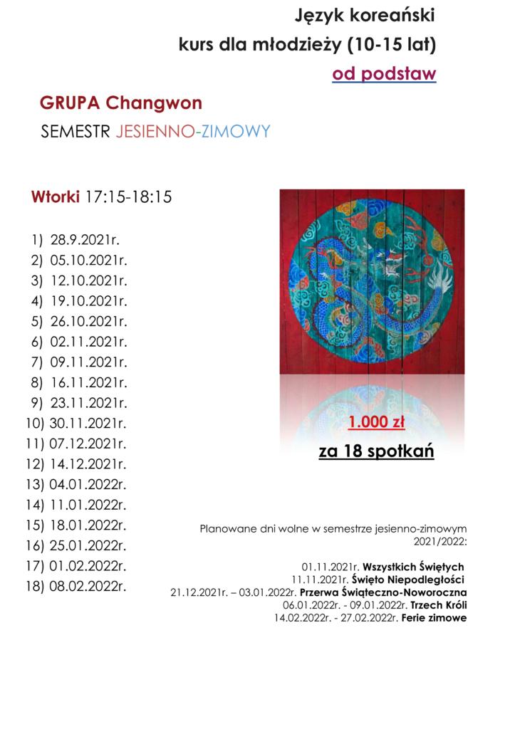 harmonogram kursu języka koreańskiego od podstaw. semestr jesien - zima. grupa Changwon