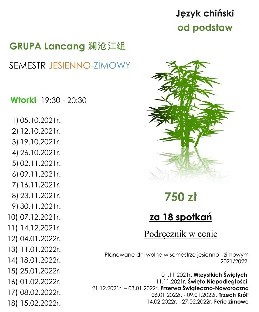 zaktualizowany harmonogram kursu chińskiego od podstaw - Langcang